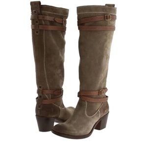Frye Jane Slouch Suede Strappy Riding Boots